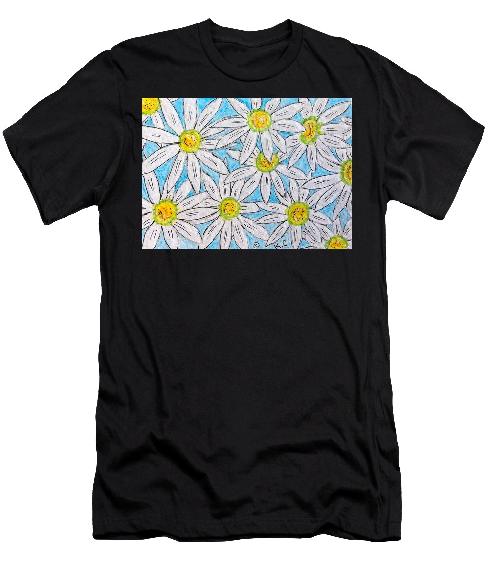 Daisy Men's T-Shirt (Athletic Fit) featuring the painting Daisies Daisies by Kathy Marrs Chandler