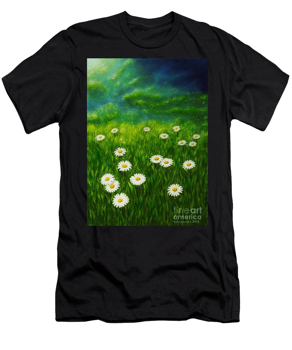 Art Men's T-Shirt (Athletic Fit) featuring the painting Daisy Meadow by Veikko Suikkanen
