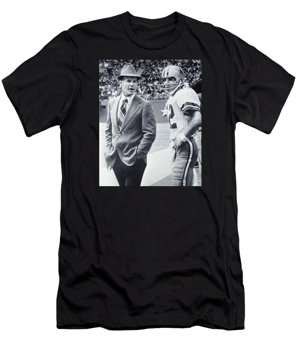 d25b02b9d Dallas Cowboys Coach Tom Landry And Quarterback  12 Roger Staubach T-Shirt  for Sale by Donna Wilson