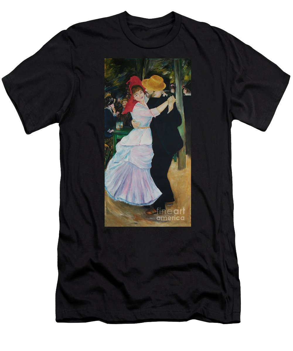 Impressionism Men's T-Shirt (Athletic Fit) featuring the painting Dance At Bougival Renoir by Eric Schiabor