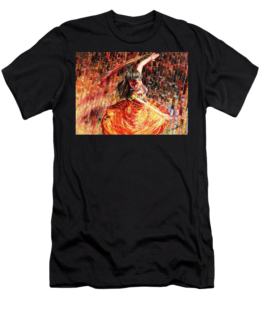 Dancer Men's T-Shirt (Athletic Fit) featuring the painting Dance Of Colors by Sethu Madhavan
