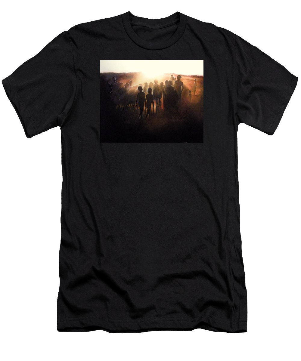 Africa T-Shirt featuring the painting Dancing at Sunset by Tomas Castano