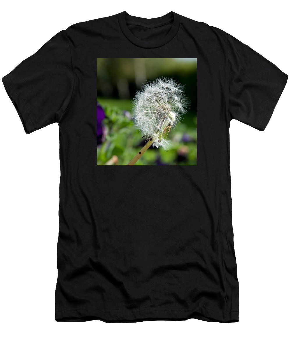 Macro Photography Men's T-Shirt (Athletic Fit) featuring the photograph Dandelions by Dave Byrne