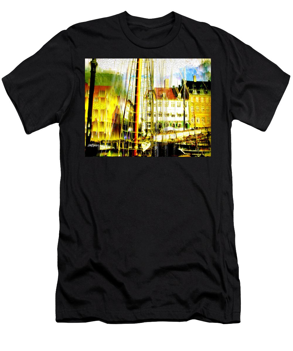 Cityscape Men's T-Shirt (Athletic Fit) featuring the photograph Danish Harbor by Seth Weaver