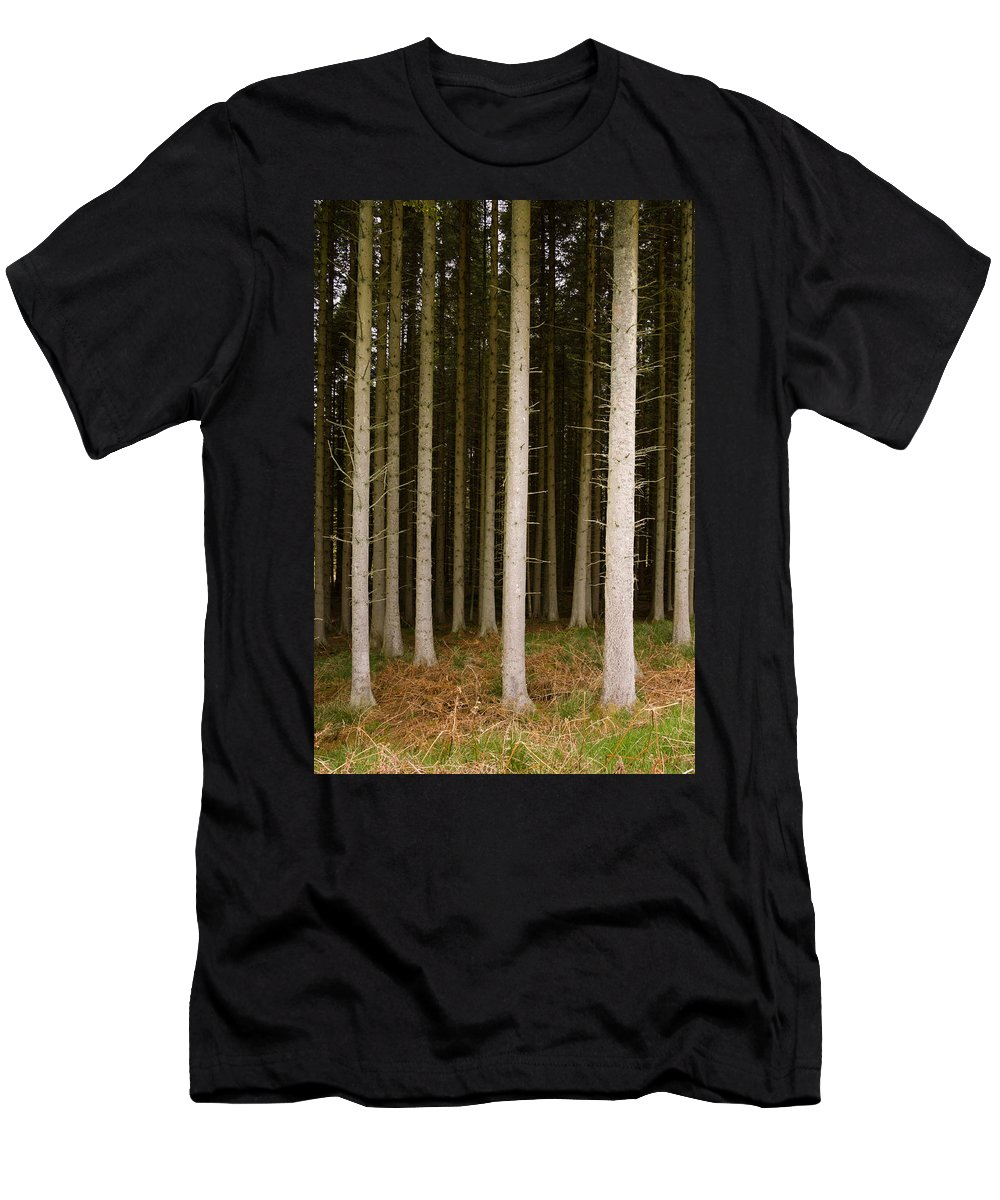 Background Men's T-Shirt (Athletic Fit) featuring the photograph Dark Forest At Kielder by David Head