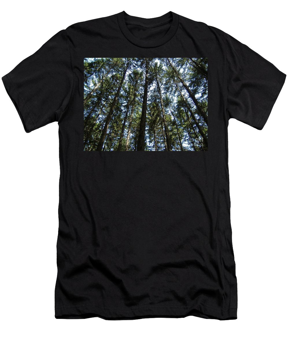 Pine Men's T-Shirt (Athletic Fit) featuring the photograph Dark Trees by Nathanael Smith