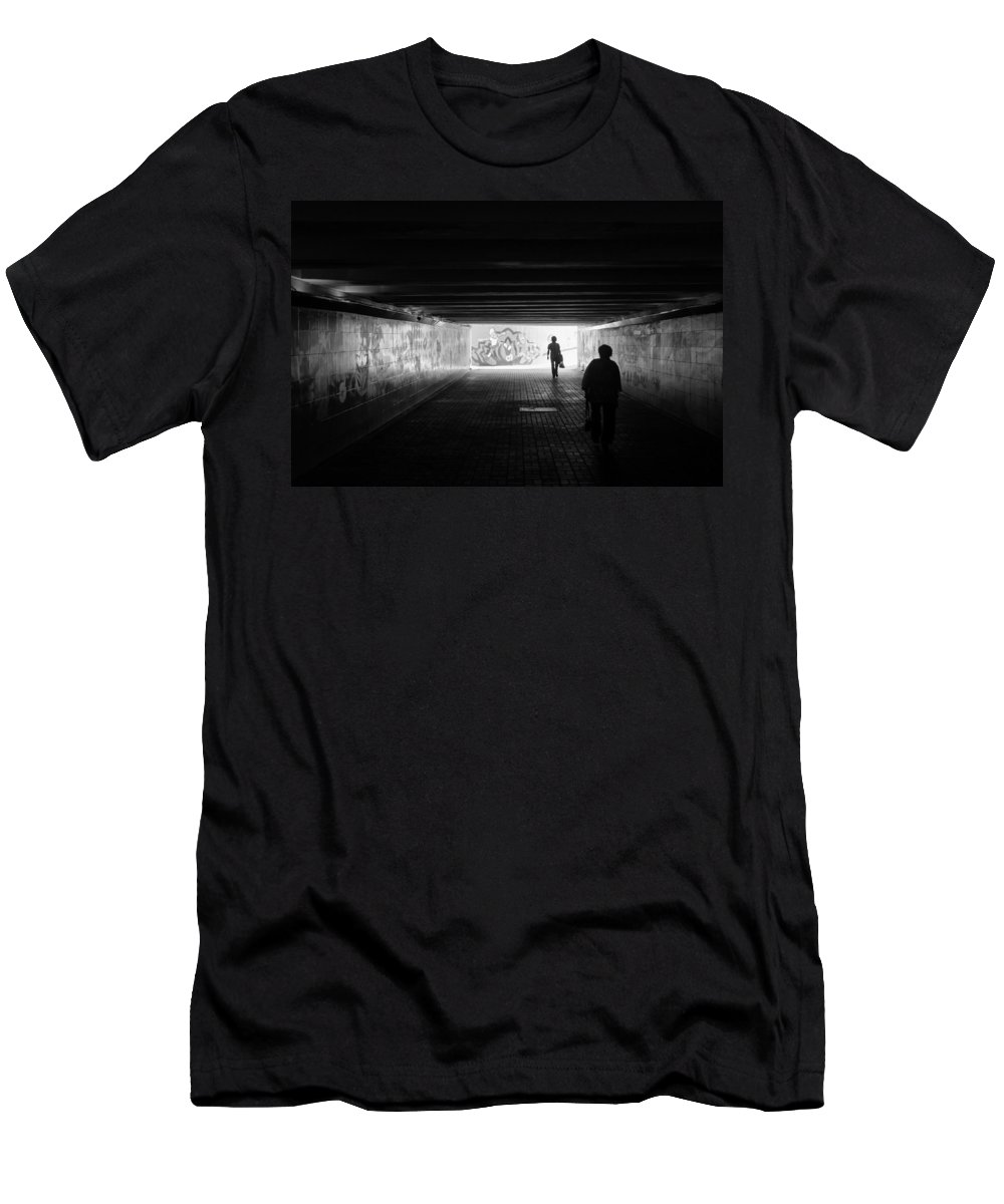 Kiev Men's T-Shirt (Athletic Fit) featuring the photograph Dark Underpass by Alain De Maximy