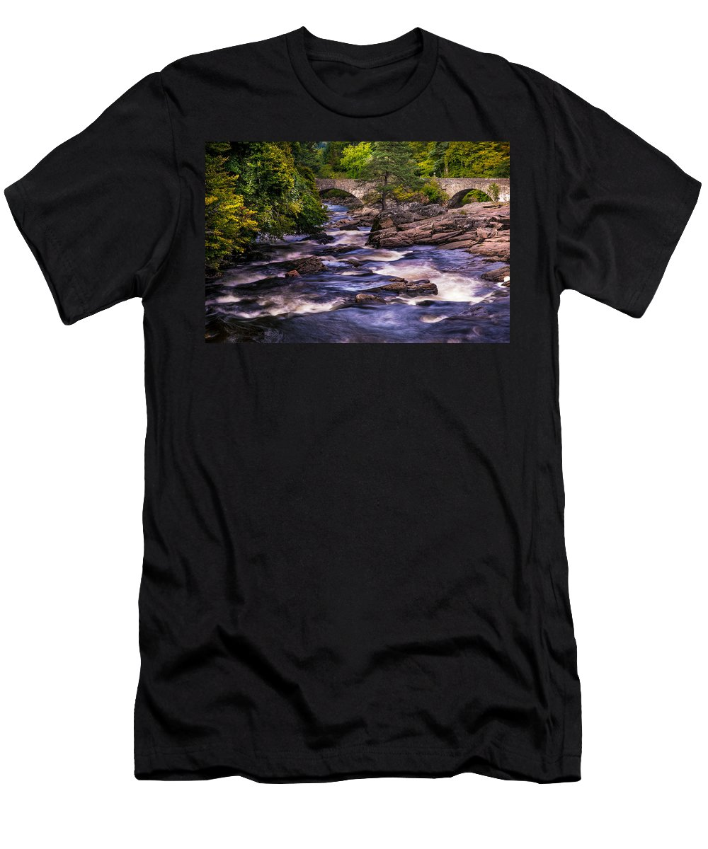 Scotland Men's T-Shirt (Athletic Fit) featuring the photograph Dark Waters Of Dochart Falls. Scotland by Jenny Rainbow