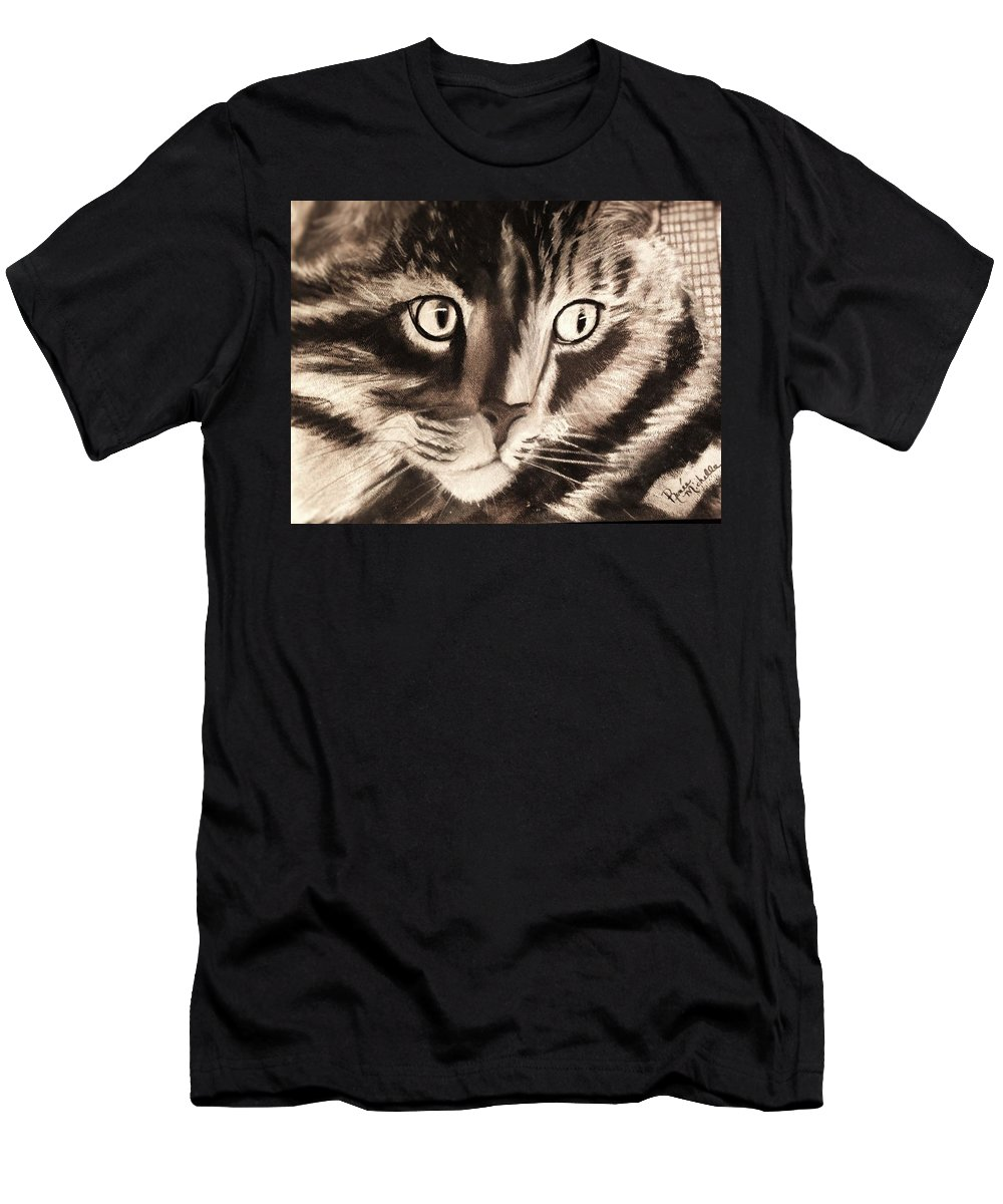 Cat Men's T-Shirt (Athletic Fit) featuring the drawing Darling Cat by Renee Michelle Wenker