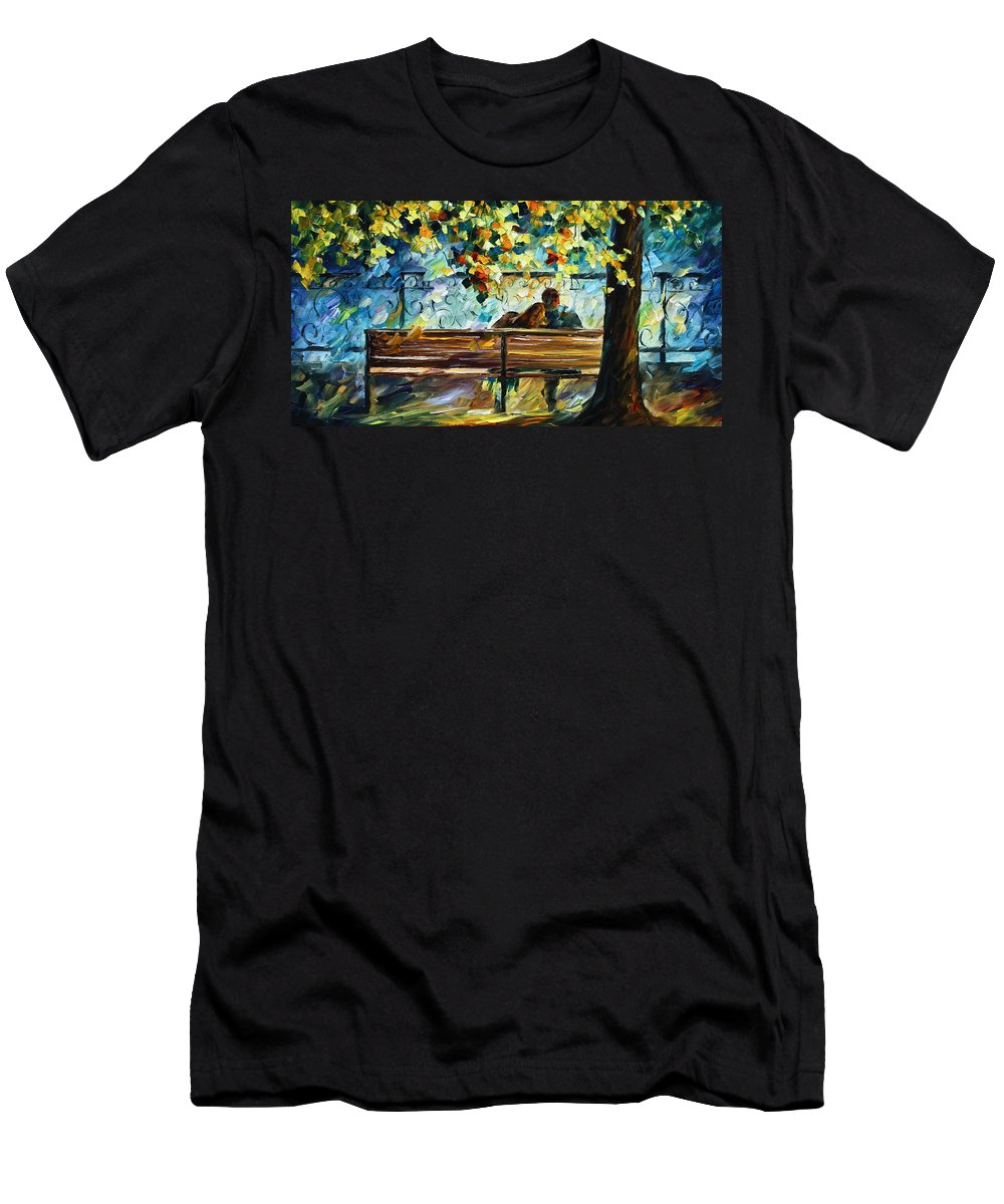 Landscape Men's T-Shirt (Athletic Fit) featuring the painting Date On The Bench by Leonid Afremov