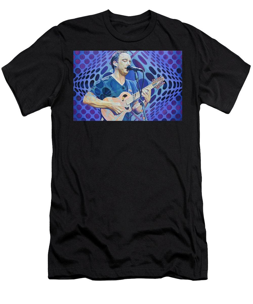 Dave Matthews Men's T-Shirt (Athletic Fit) featuring the drawing Dave Matthews-op Art Series by Joshua Morton