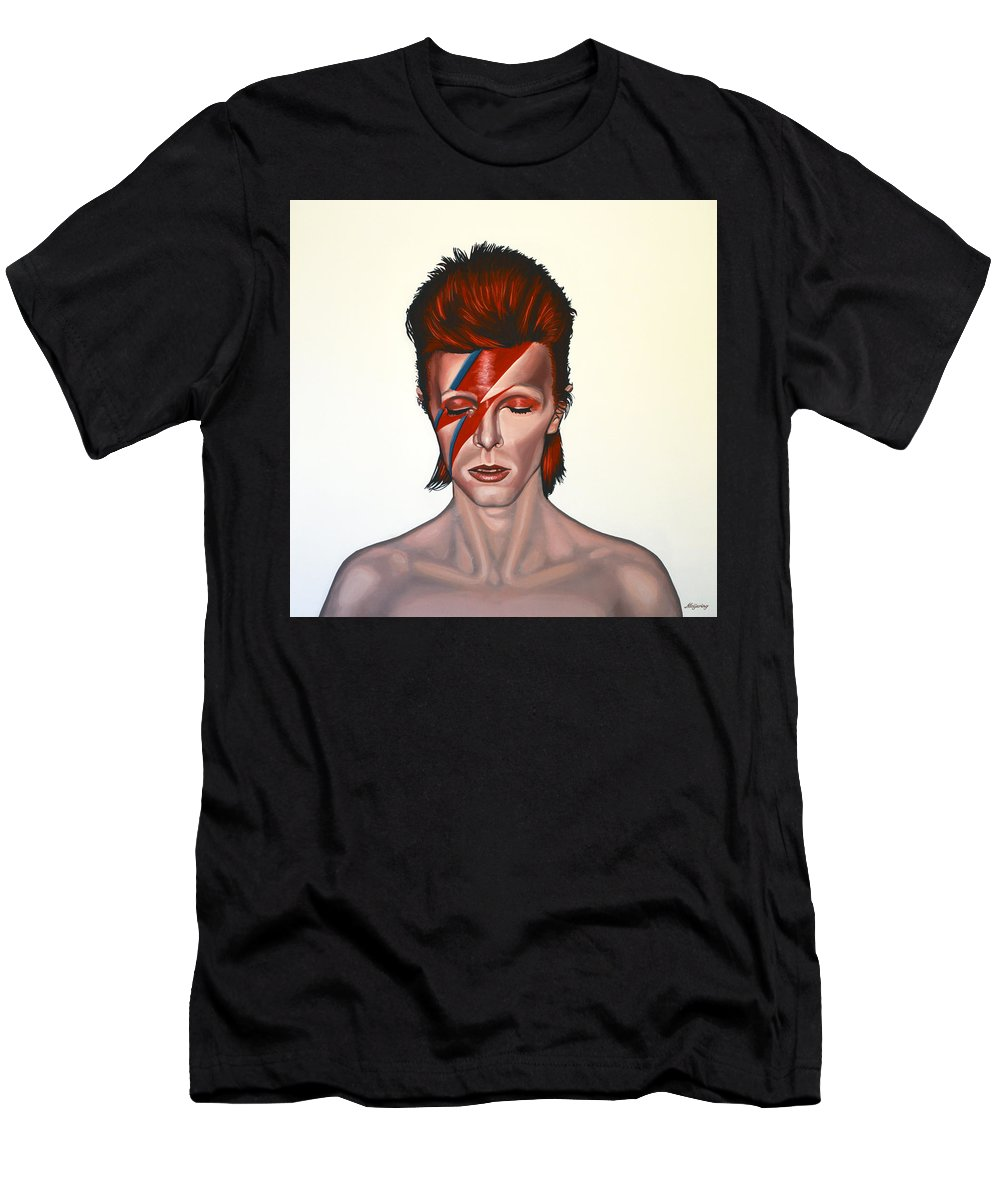 David Bowie T-Shirt featuring the painting David Bowie Aladdin Sane by Paul Meijering