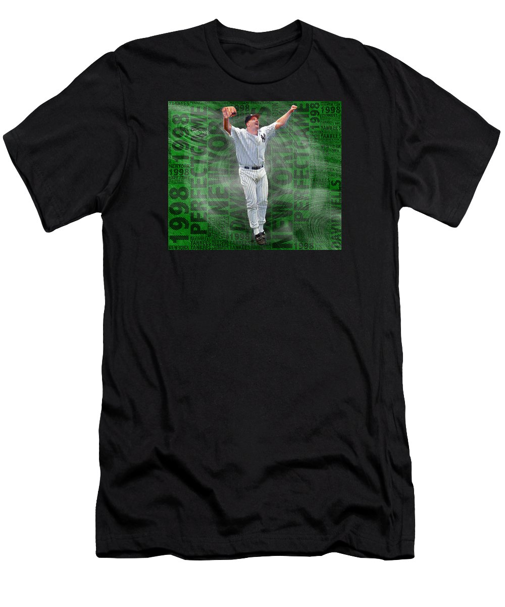 David Wells Men's T-Shirt (Athletic Fit) featuring the painting David Wells Yankees Perfect Game 1998 by Tony Rubino