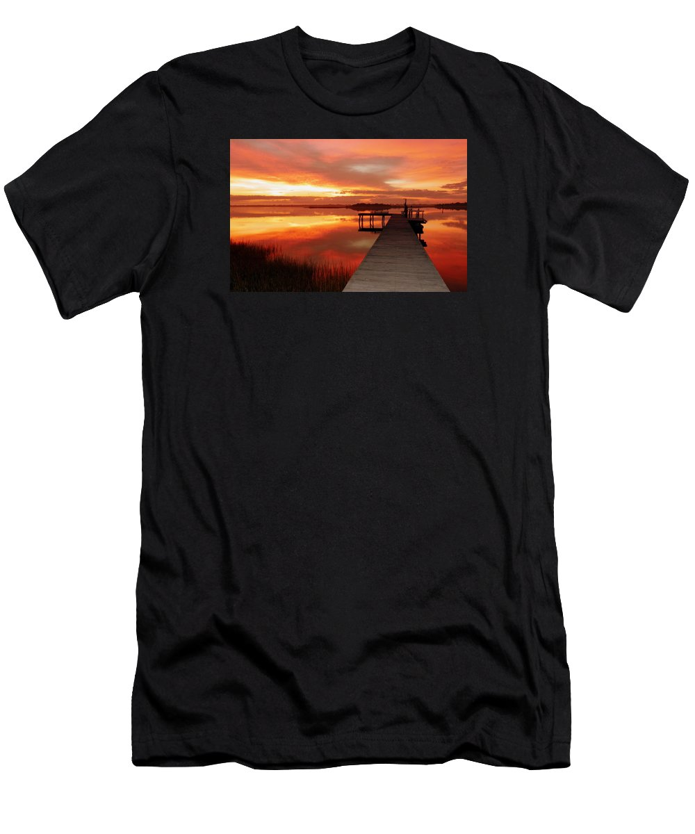 Orange Waterscapes Men's T-Shirt (Athletic Fit) featuring the photograph Dawn Of New Year by Karen Wiles