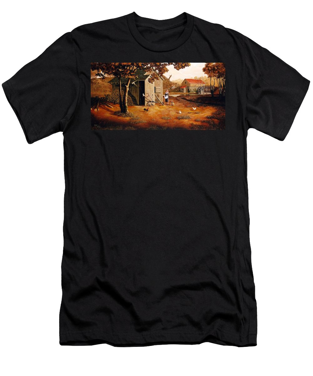 Farm Men's T-Shirt (Athletic Fit) featuring the painting Days Of Discovery by Duane R Probus