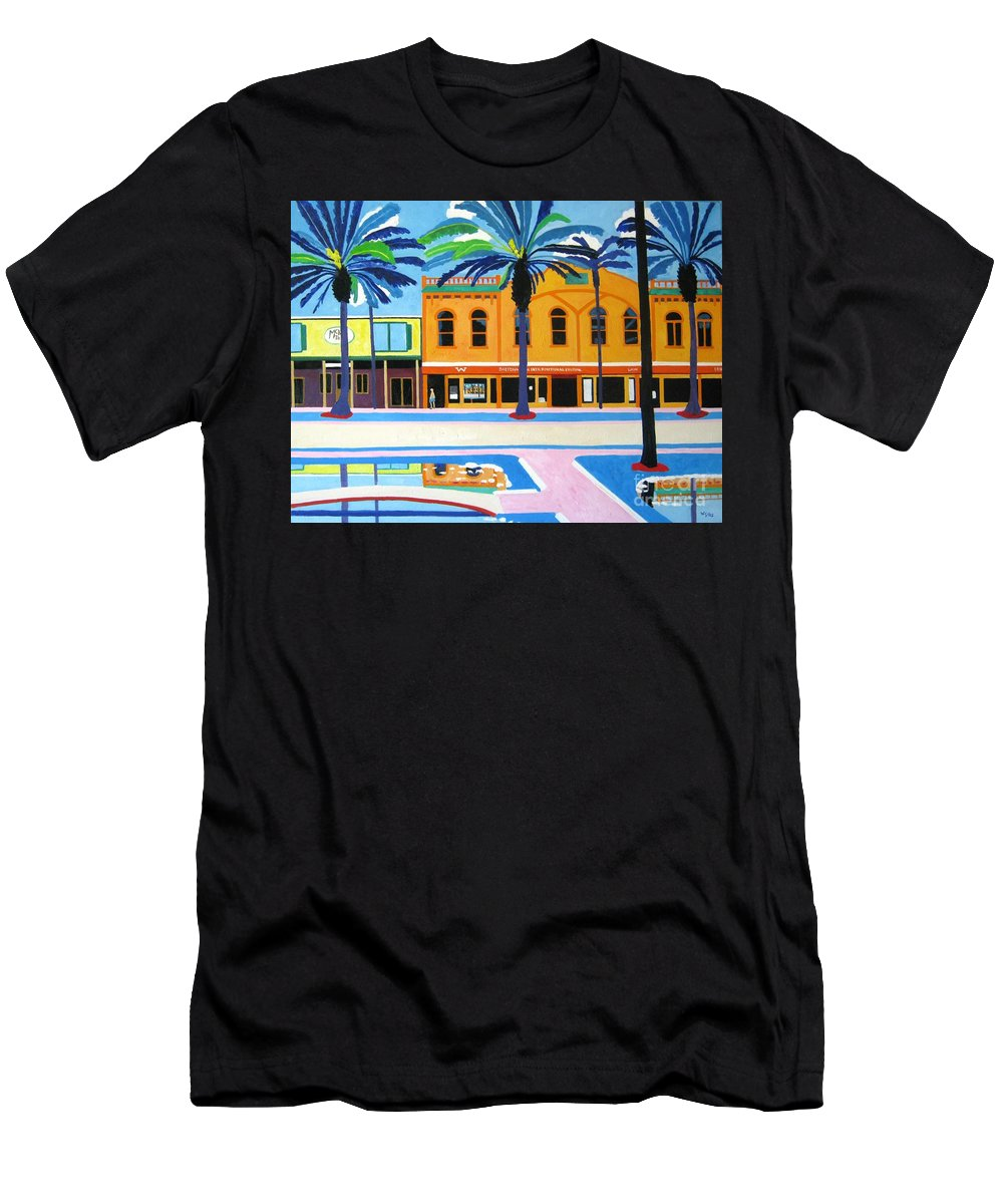 Irish Men's T-Shirt (Athletic Fit) featuring the painting Mckays Irish Pub Daytona Florida by Lesley Giles