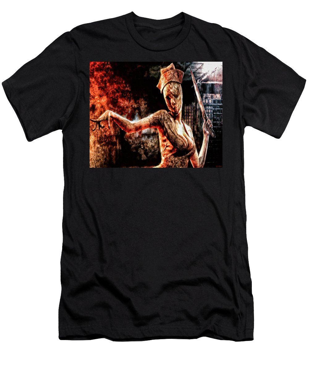 Fear Men's T-Shirt (Athletic Fit) featuring the painting Death By Medicine by Joe Misrasi