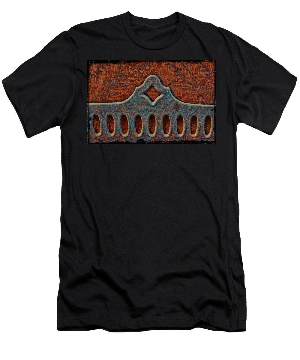Ornamental Iron Men's T-Shirt (Athletic Fit) featuring the photograph Deco Metal Red by Sylvia Thornton