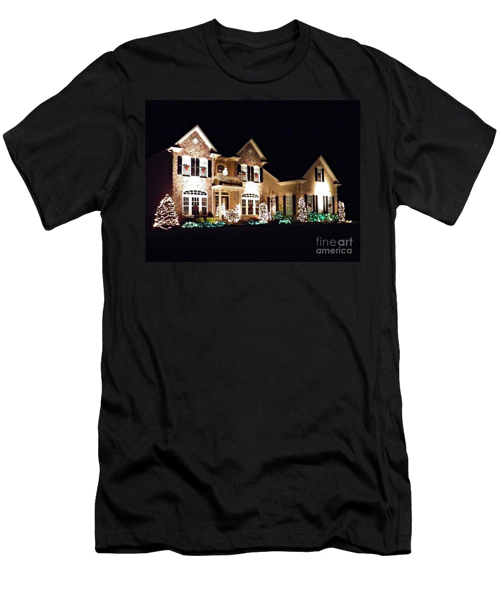 House Men's T-Shirt (Athletic Fit) featuring the photograph Decorated For Christmas by Sarah Loft