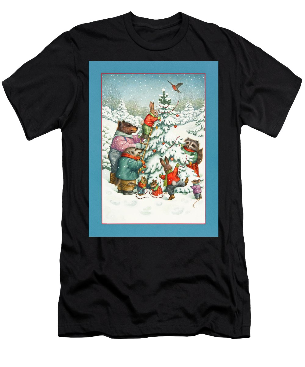Christmas Men's T-Shirt (Athletic Fit) featuring the painting Decorating The Tree by Lynn Bywaters