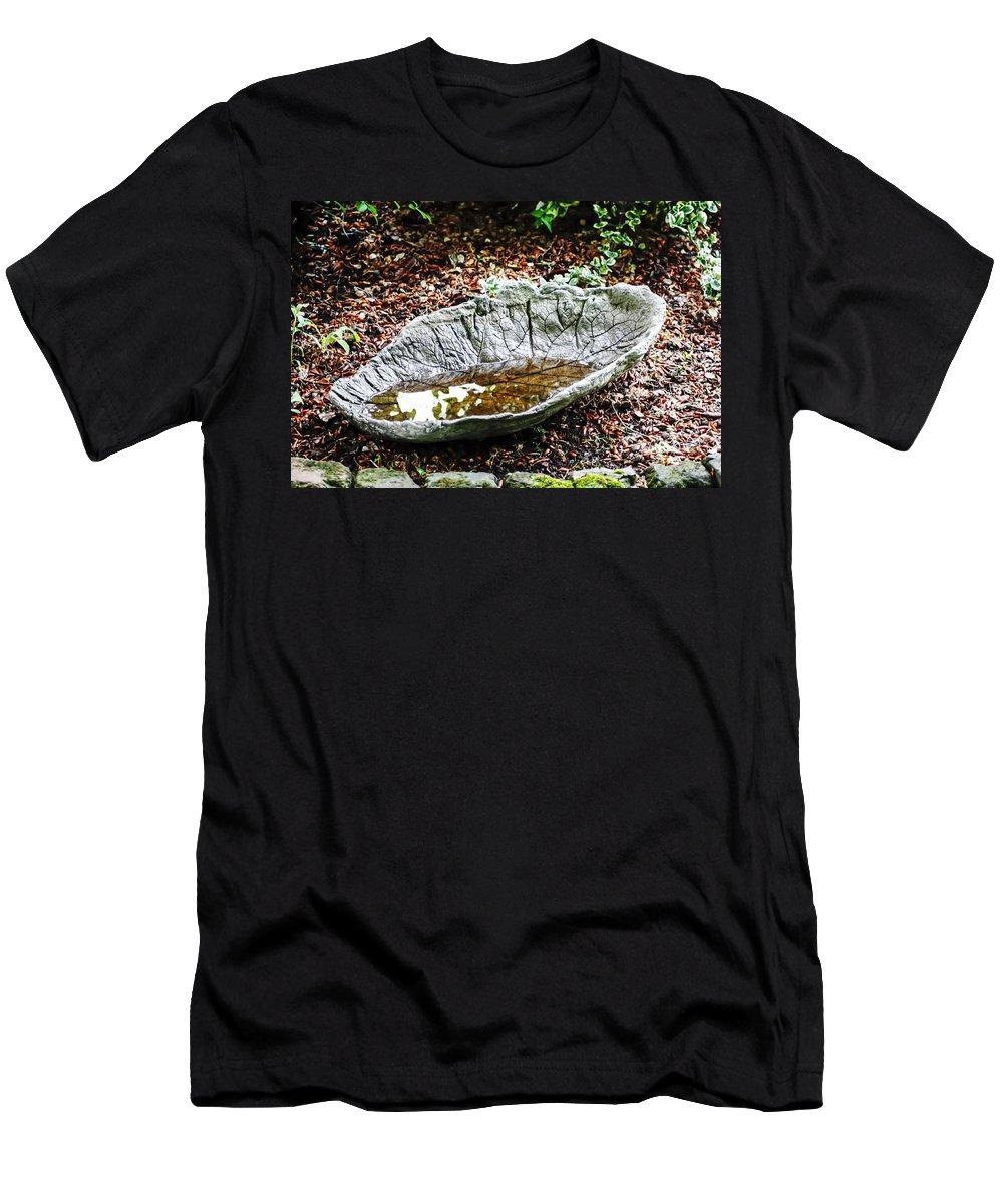 Decorative Leaf Birdbath Men's T-Shirt (Athletic Fit) featuring the photograph Decorative Leaf Birdbath by Cynthia Woods