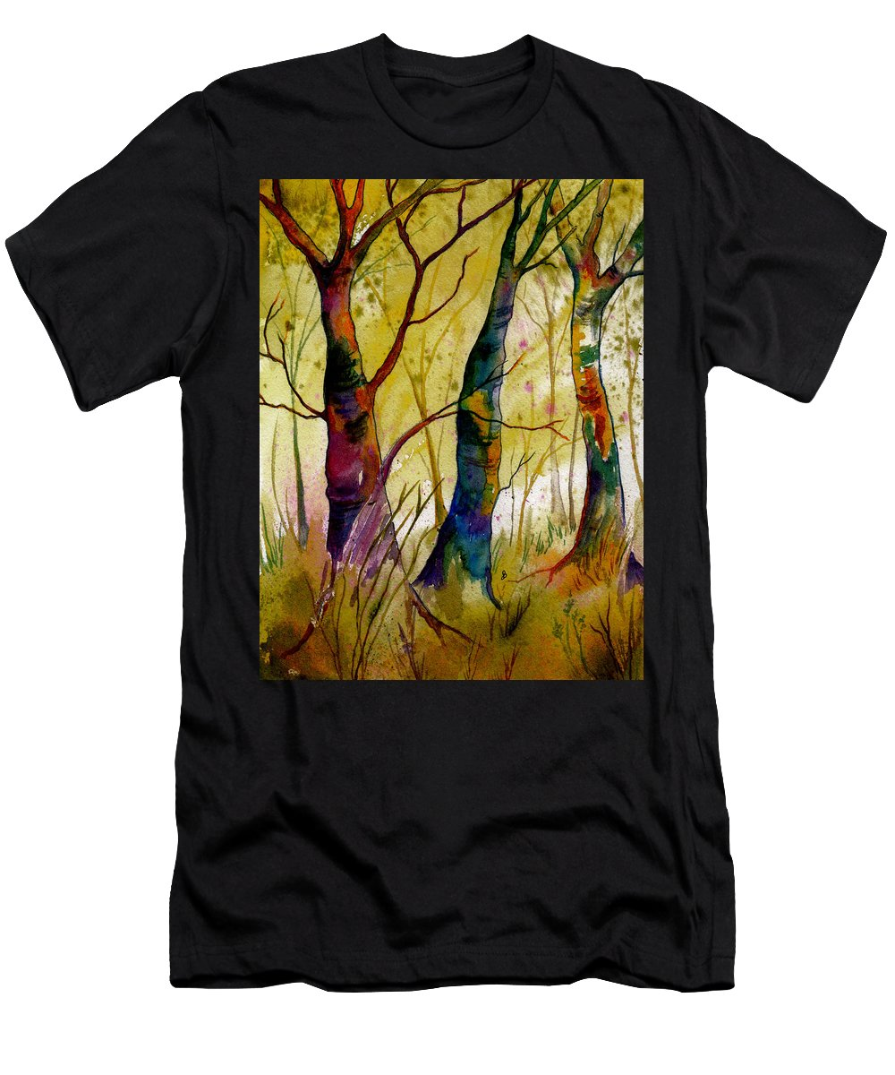 Landscape Men's T-Shirt (Athletic Fit) featuring the painting Deep In The Woods by Brenda Owen