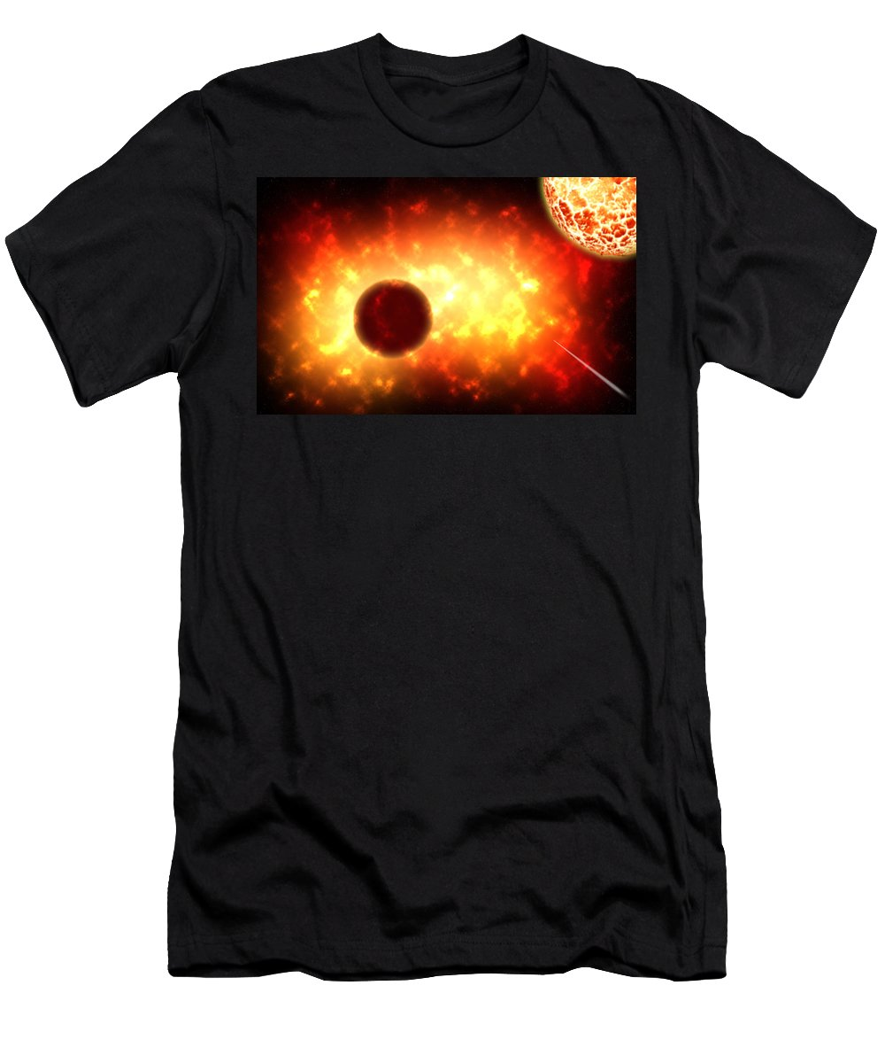 Outer Space Men's T-Shirt (Athletic Fit) featuring the painting Deep Space Activity Digital Painting by Georgeta Blanaru