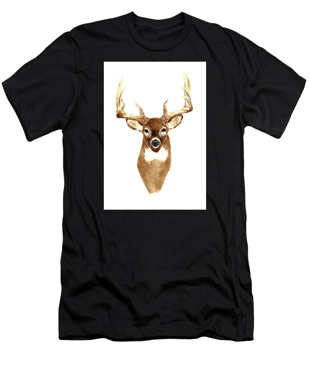 Deer Men's T-Shirt (Athletic Fit) featuring the painting Deer - Front View by Michael Vigliotti