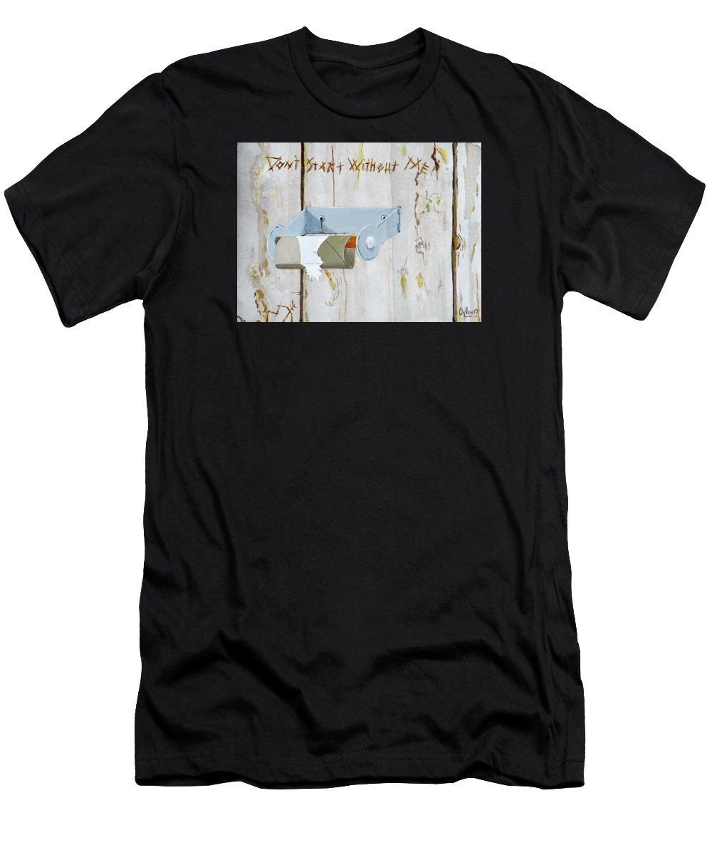 Bathroom Men's T-Shirt (Athletic Fit) featuring the painting Deer Lease Dilemma by Michael Dillon