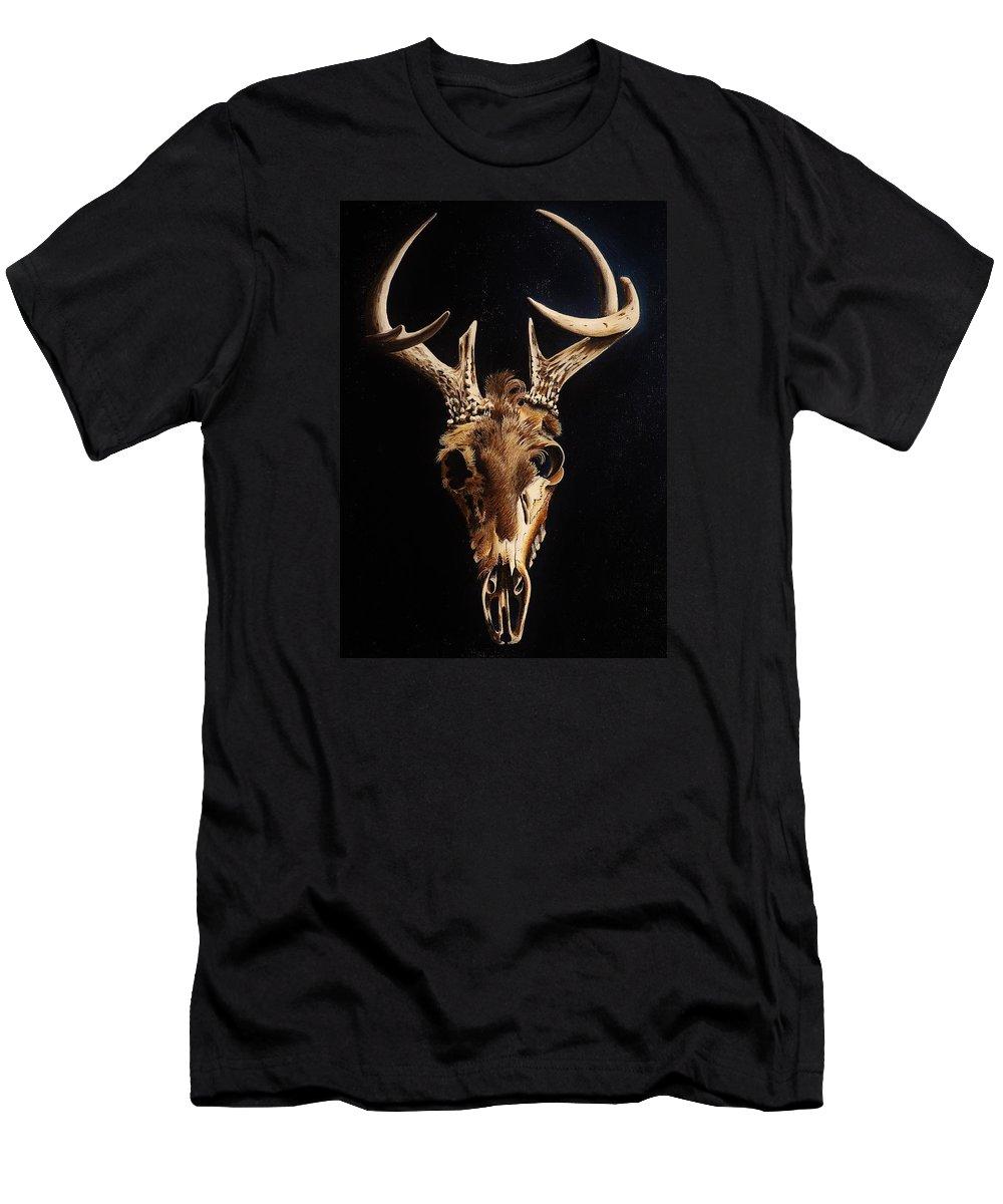 Deer Men's T-Shirt (Athletic Fit) featuring the painting Deer Skull by Joy Bradley