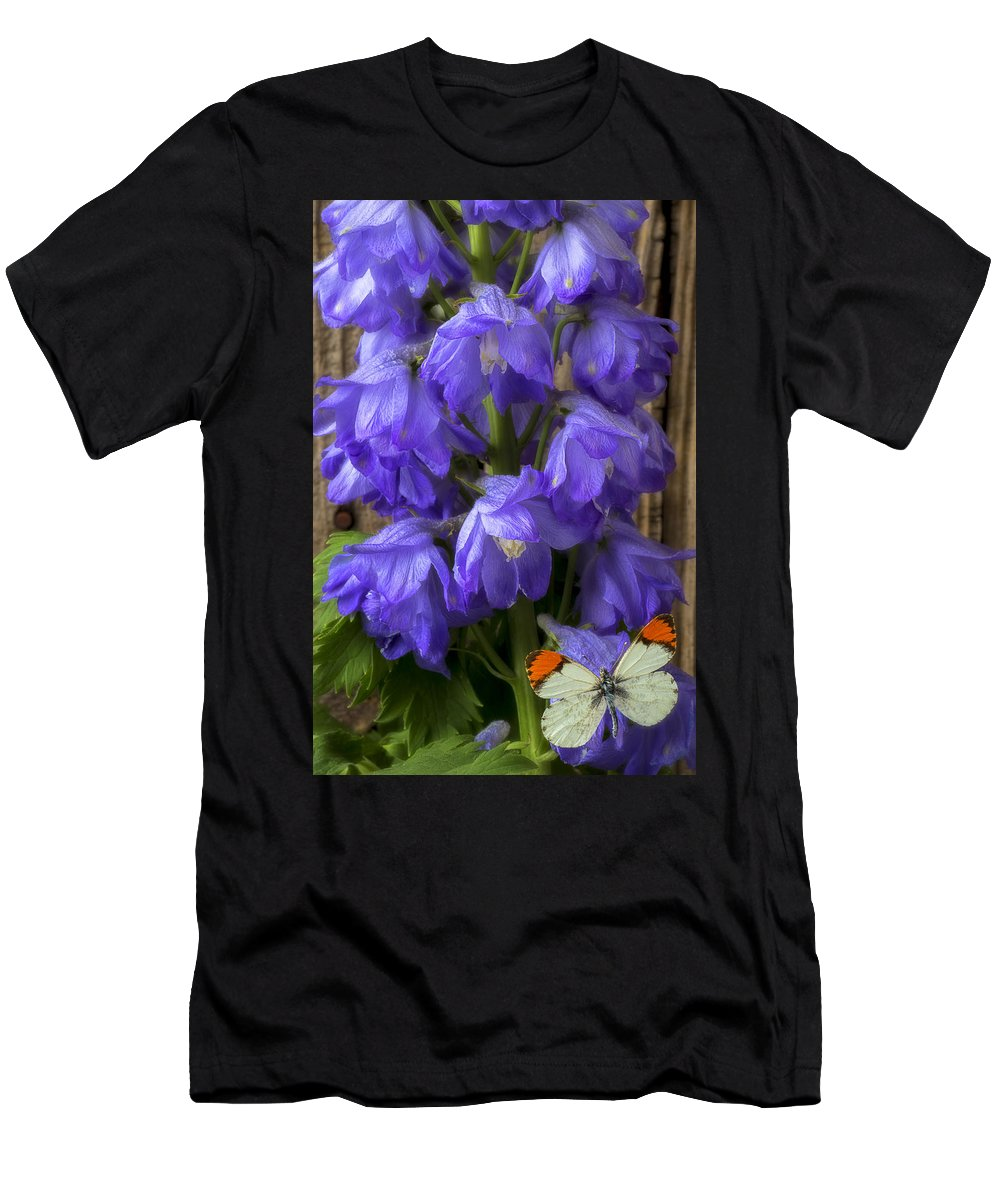 Delphinium Men's T-Shirt (Athletic Fit) featuring the photograph Delphinium And Butterfly by Garry Gay