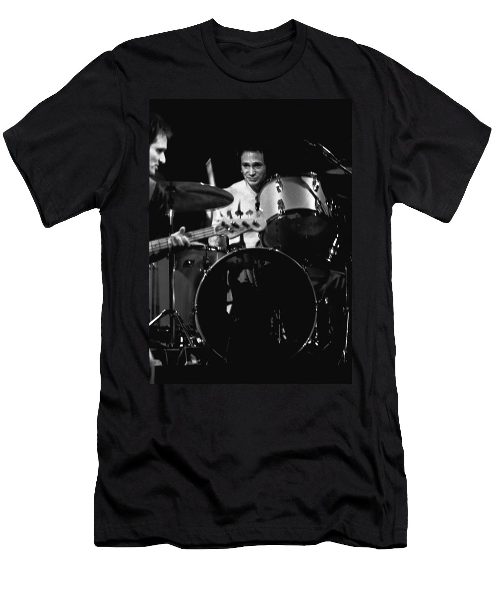 Denny Carmasi Men's T-Shirt (Athletic Fit) featuring the photograph Denny Carmasi On The Drums In 1978 by Ben Upham