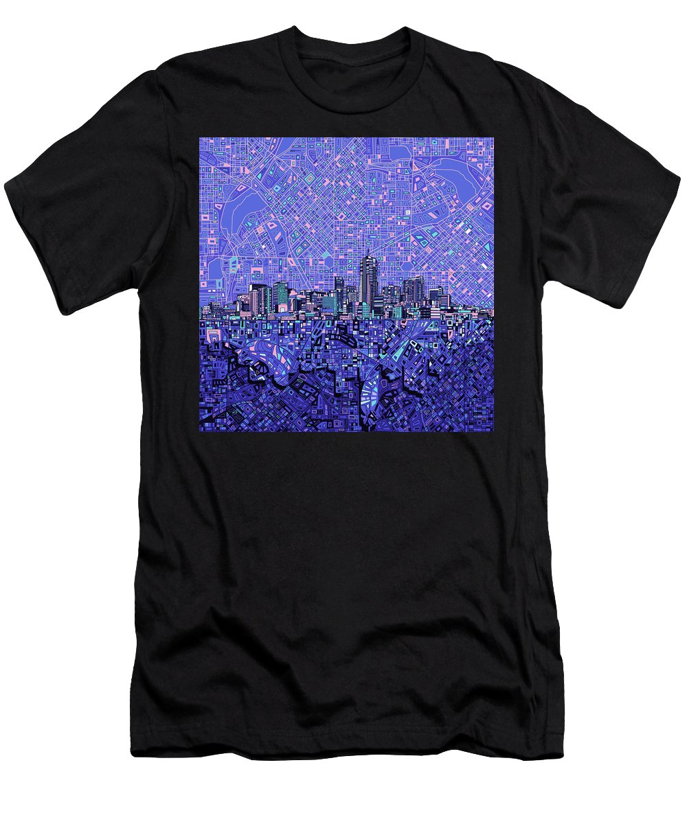 Denver Skyline Men's T-Shirt (Athletic Fit) featuring the painting Denver Skyline Abstract 4 by Bekim Art