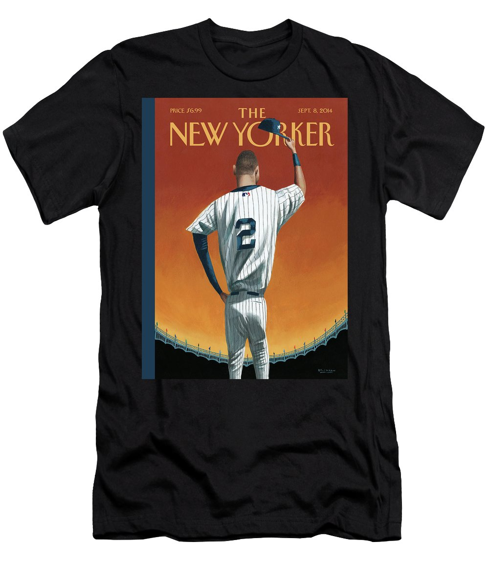 Retirement Men's T-Shirt (Athletic Fit) featuring the painting Derek Jeter Bows Out by Mark Ulriksen
