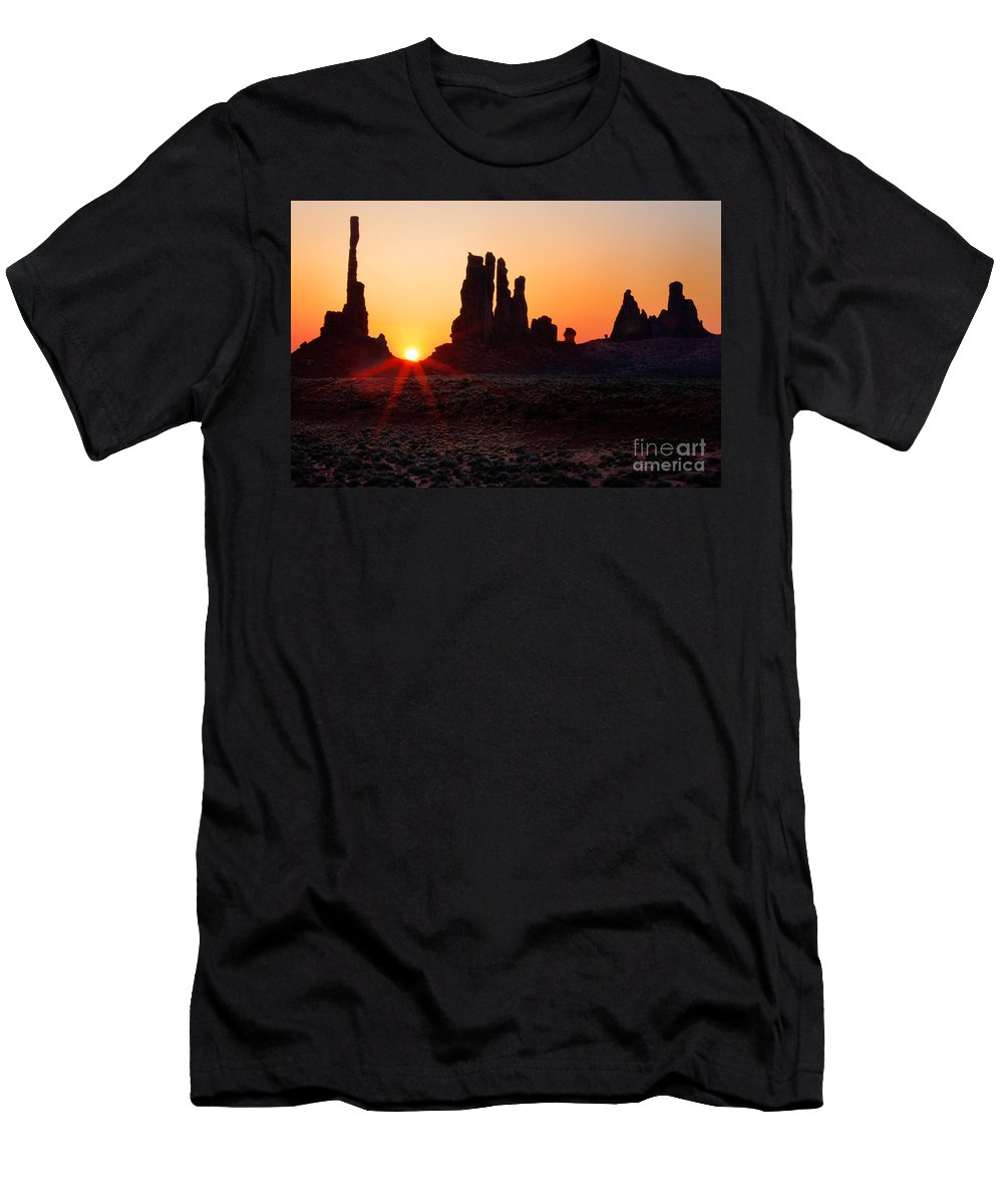 America Men's T-Shirt (Athletic Fit) featuring the photograph Desert Sunrise by Inge Johnsson