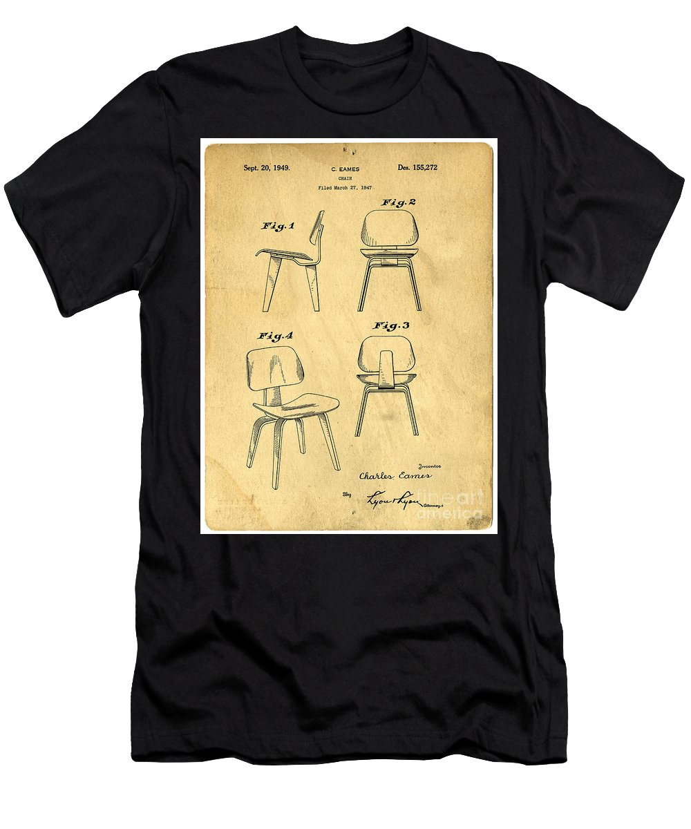 Patent Men's T-Shirt (Athletic Fit) featuring the digital art Designs For A Eames Chair by Edward Fielding