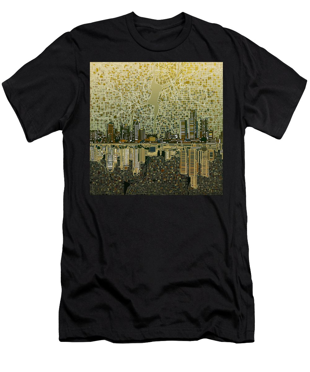 Detroit Men's T-Shirt (Athletic Fit) featuring the painting Detroit Skyline Abstract 4 by Bekim Art