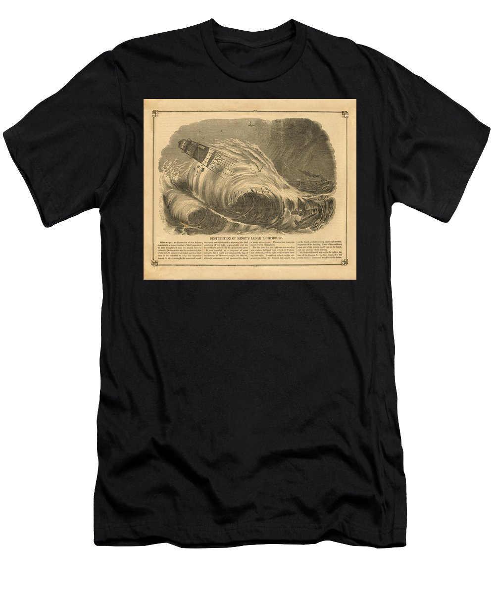 Light Men's T-Shirt (Athletic Fit) featuring the drawing Detstruction Of Minots Ledge Lighthouse by Jerry McElroy - Public Domain Image