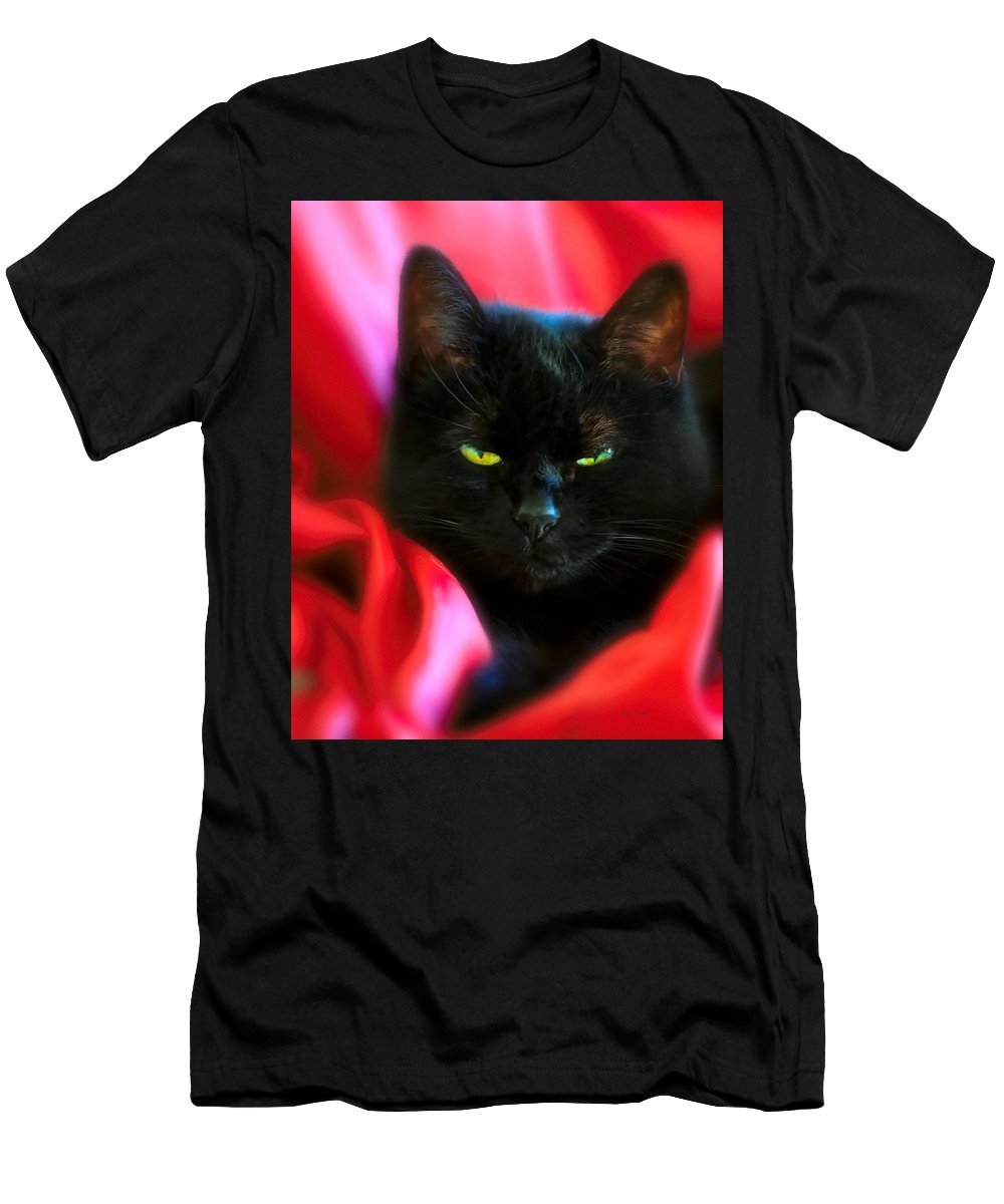 Black Cat Men's T-Shirt (Athletic Fit) featuring the photograph Devil In A Red Dress by Bob Orsillo