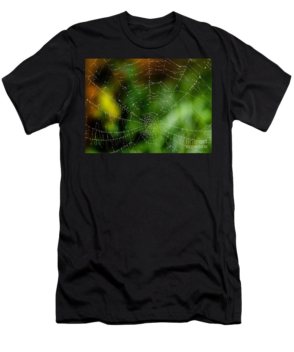 Arachnid Men's T-Shirt (Athletic Fit) featuring the photograph Dew Drops On Spider Web 3 by Tracy Knauer