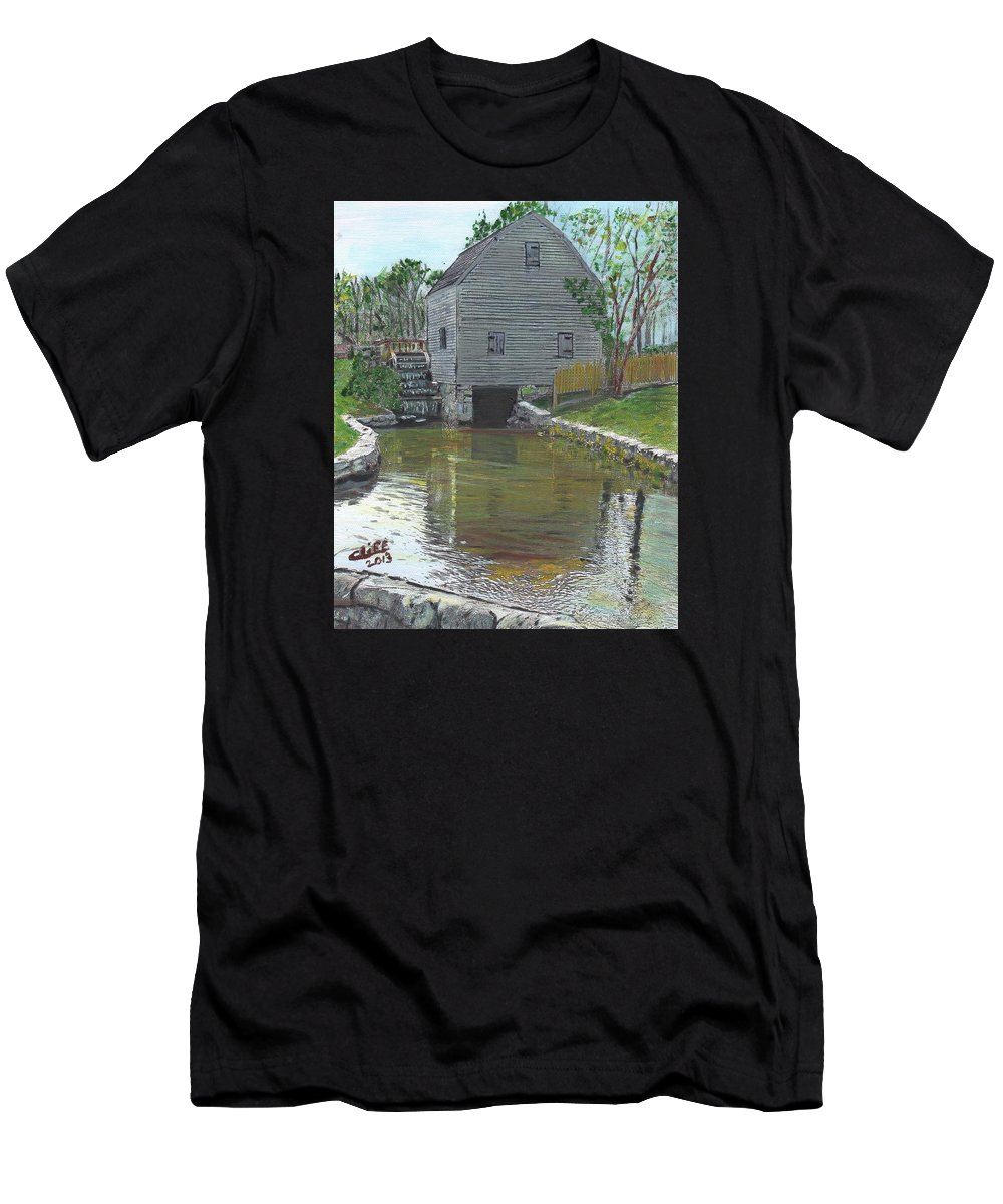 Nature Men's T-Shirt (Athletic Fit) featuring the painting Dexter's Grist Mill - Cape Cod by Cliff Wilson
