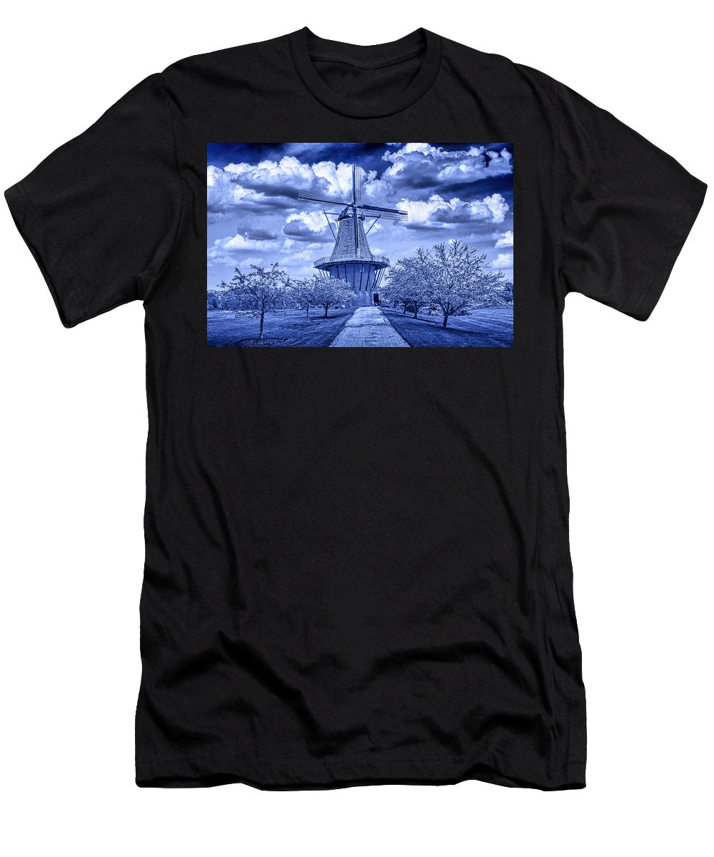 Art Men's T-Shirt (Athletic Fit) featuring the photograph deZwaan Holland Windmill in Delft Blue by Randall Nyhof