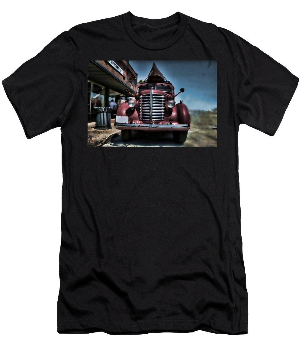 Diamondt Men's T-Shirt (Athletic Fit) featuring the photograph Diamond T Vintage Truck Art by Lesa Fine