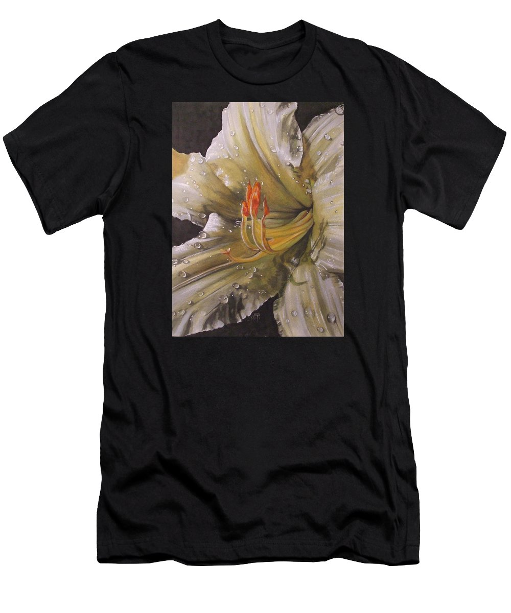 Daylily Men's T-Shirt (Athletic Fit) featuring the painting Diamonds by Barbara Keith