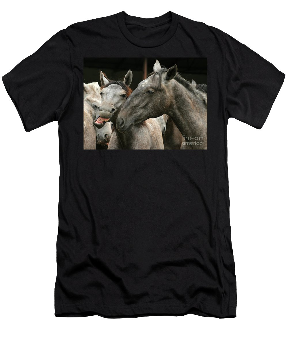 Horse Men's T-Shirt (Athletic Fit) featuring the photograph Do I Have A Nice Smile by Angel Ciesniarska