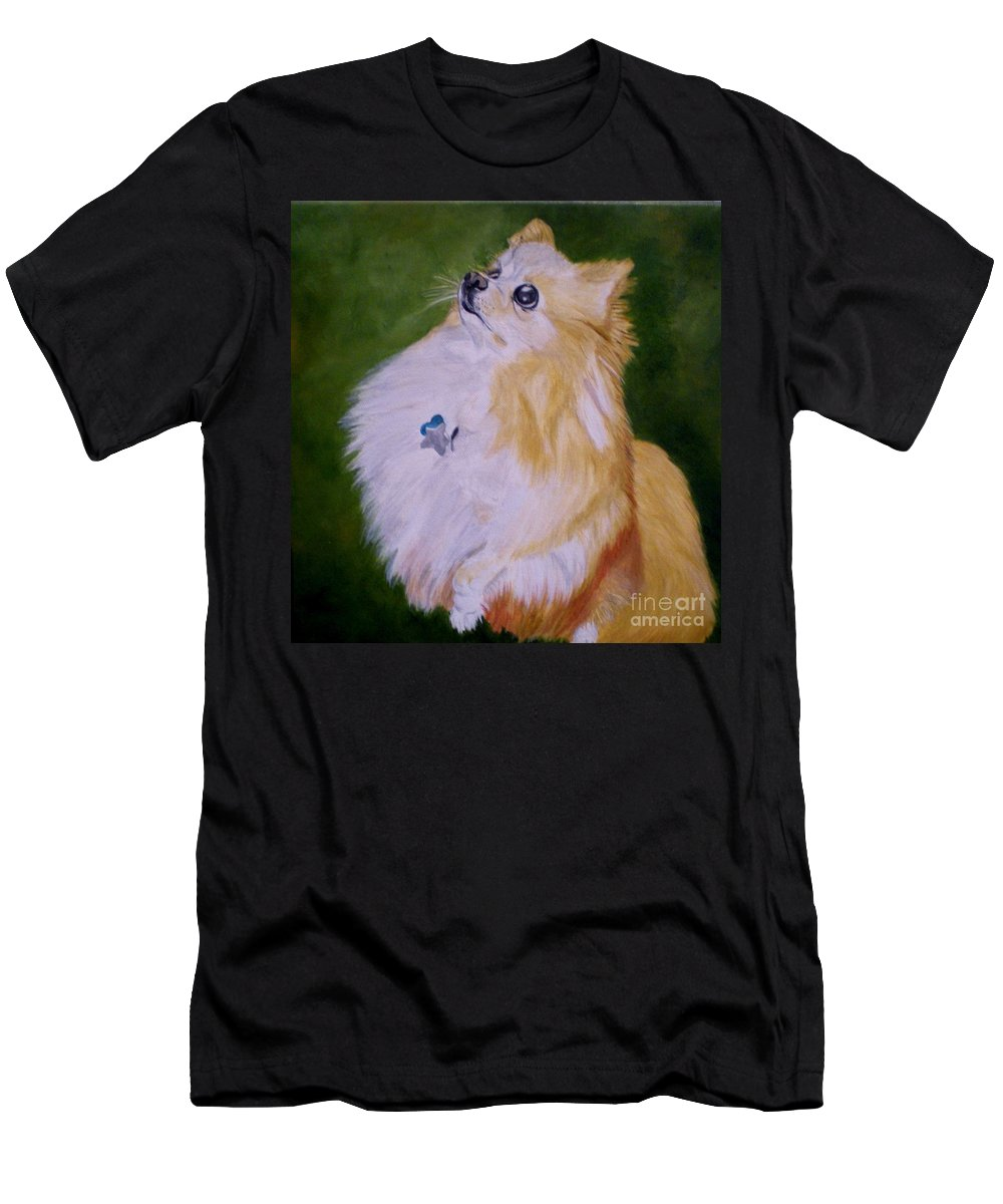 Dog Pomeranian Men's T-Shirt (Athletic Fit) featuring the painting Dog Kuki by Graciela Castro