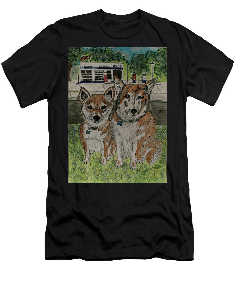 Dogs Men's T-Shirt (Athletic Fit) featuring the painting Dogs In Front Of The Gulf Station by Kathy Marrs Chandler