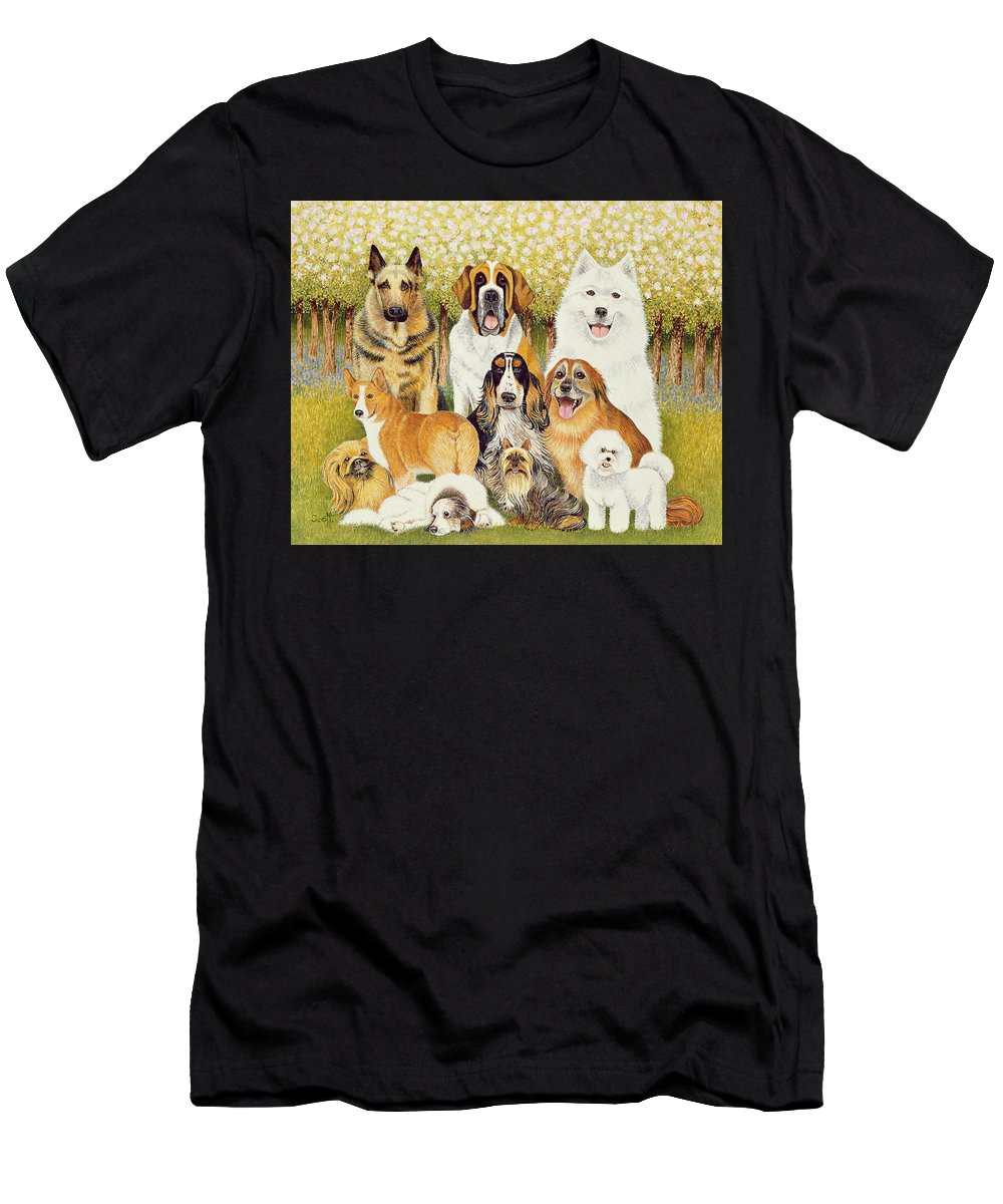 Dog Men's T-Shirt (Athletic Fit) featuring the painting Dogs In May by Pat Scott