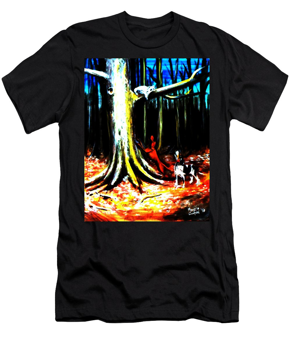 Expressionism Men's T-Shirt (Athletic Fit) featuring the painting Dogs by Marcello Cicchini