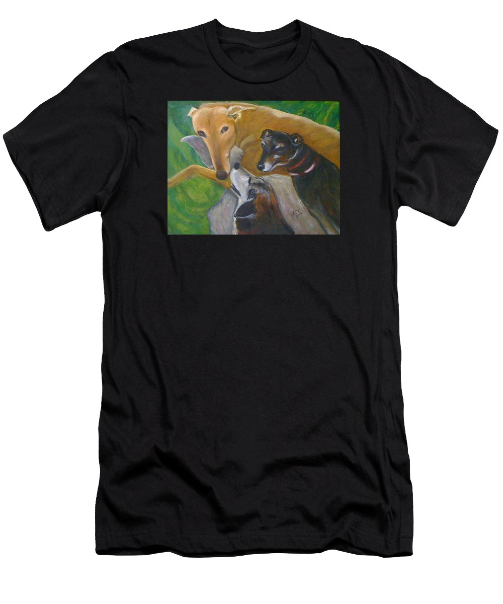 Dogs Men's T-Shirt (Athletic Fit) featuring the painting Dogs Resting by Lucille Valentino